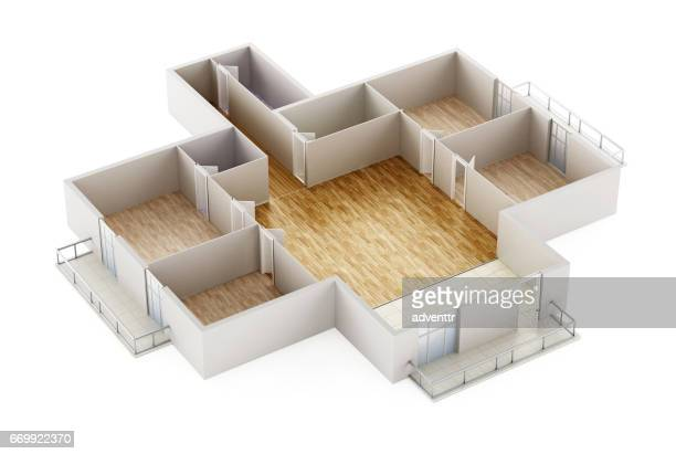 empty house interior model showing walls, doors and floor - domestic room stock illustrations, clip art, cartoons, & icons