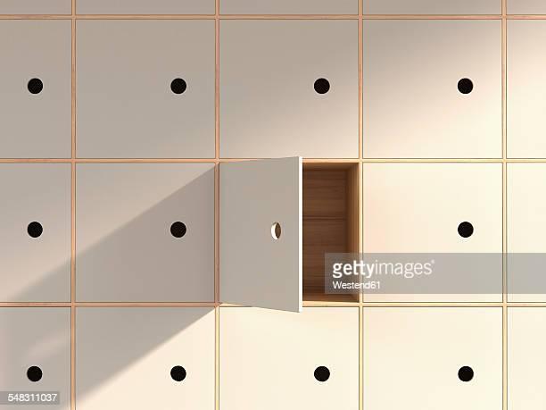empty locker with open door, 3d rendering - ロッカー点のイラスト素材/クリップアート素材/マンガ素材/アイコン素材