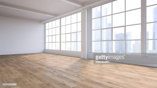 stockillustraties, clipart, cartoons en iconen met empty loft with view at skyline, 3d rendering - zonder mensen