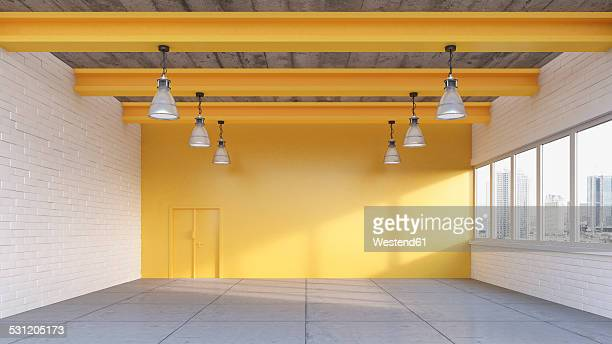 illustrazioni stock, clip art, cartoni animati e icone di tendenza di empty loft with yellow wall, 3d rendering - copy space