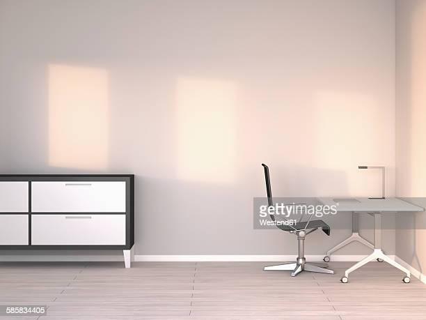 empty modern office at twilight, 3d rendering - office stock illustrations