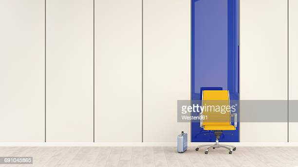 empty office chair and briefcase, 3d rendering - downsizing unemployment stock illustrations