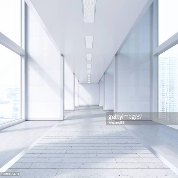 Empty passageway in a modern office building, 3D Rendering