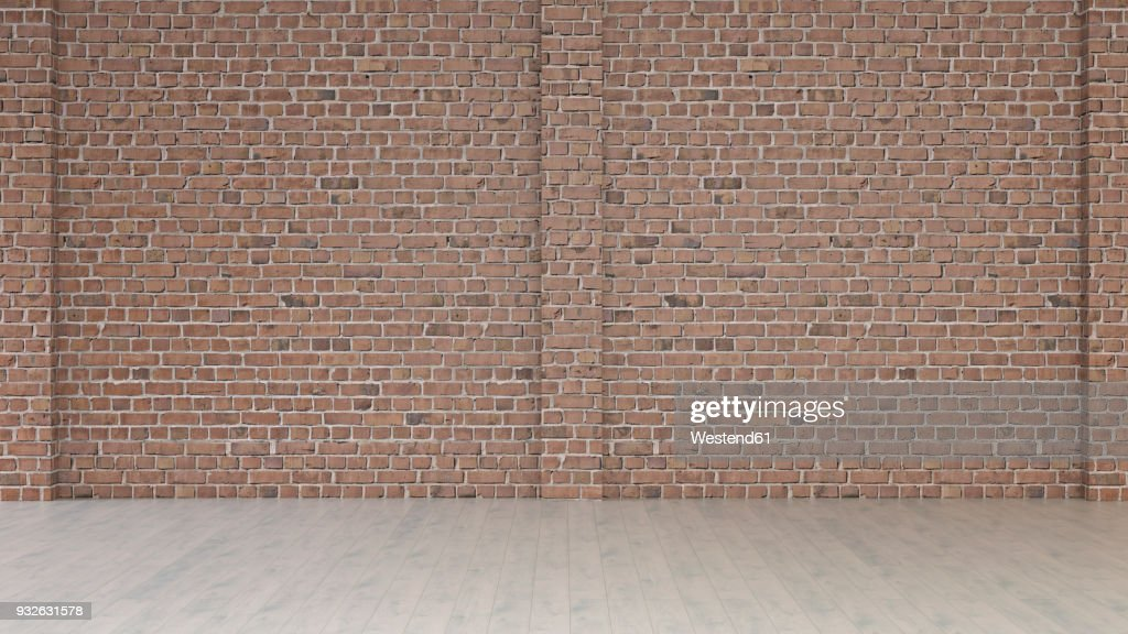 Empty room with brick wall and wooden floor, 3d rendering : stock illustration
