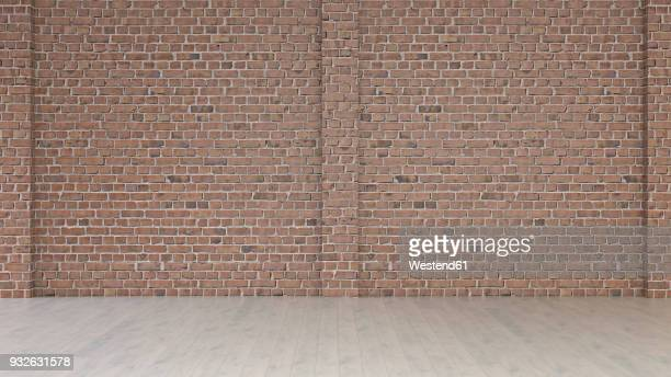 Empty room with brick wall and wooden floor, 3d rendering