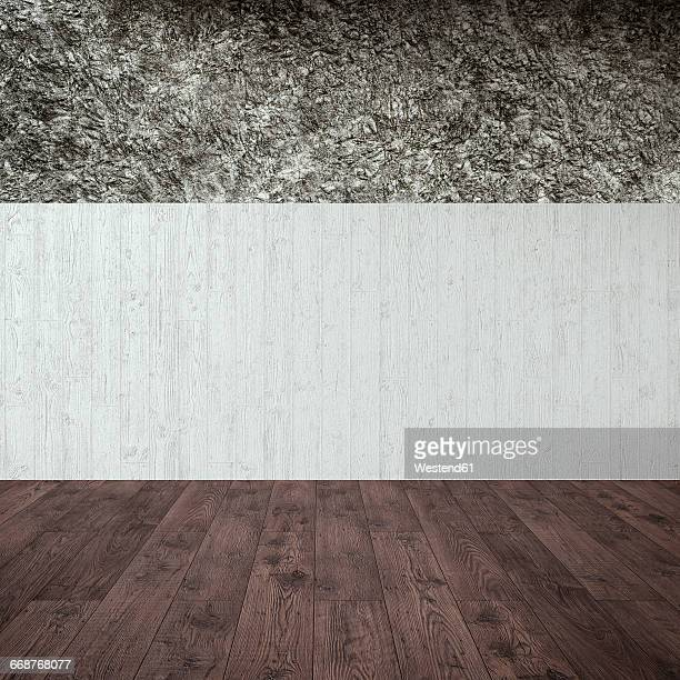 empty room with concrete and stone wall and wooden floor, 3d rendering - hardwood floor stock illustrations, clip art, cartoons, & icons