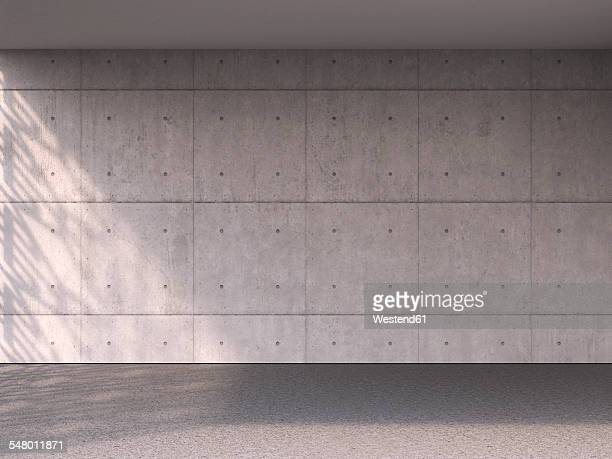 Empty room with concrete wall and floor, 3D Rendering