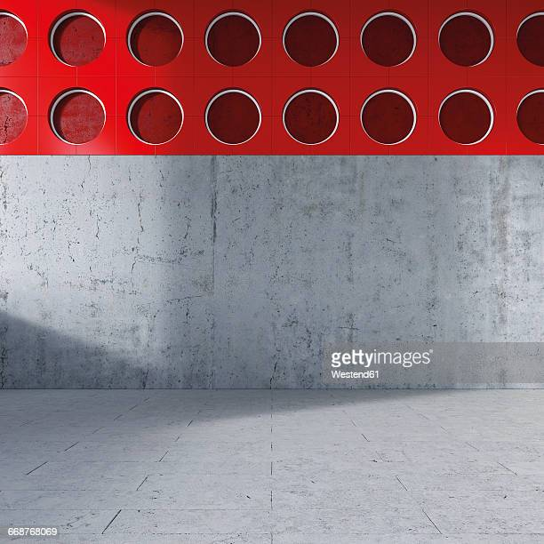 empty room with concrete wall and floor, 3d rendering - concrete wall stock illustrations, clip art, cartoons, & icons