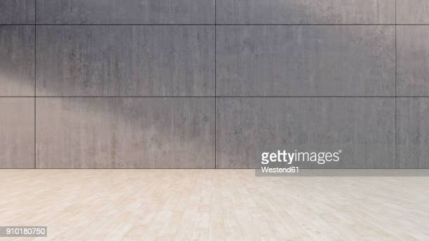 illustrazioni stock, clip art, cartoni animati e icone di tendenza di empty room with concrete wall and wooden floor, 3d rendering - copy space