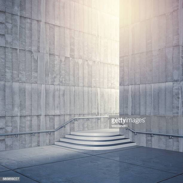 empty room with concrete walls, 3d rendering - concrete wall stock illustrations, clip art, cartoons, & icons