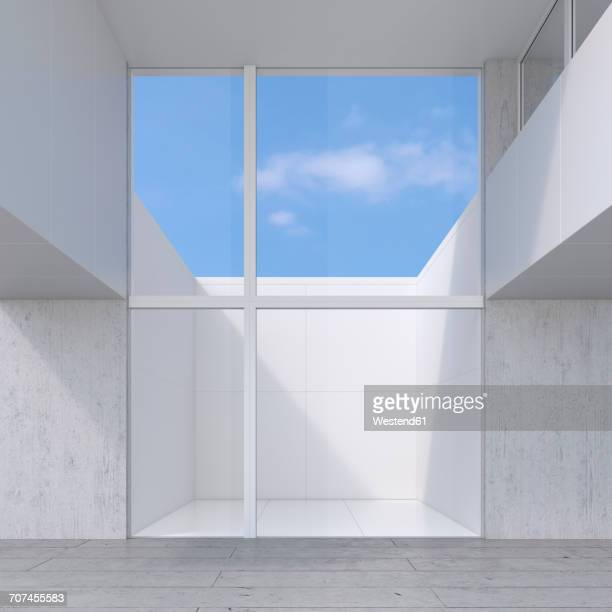 Empty room with glass wall to atrium, 3D Rendering