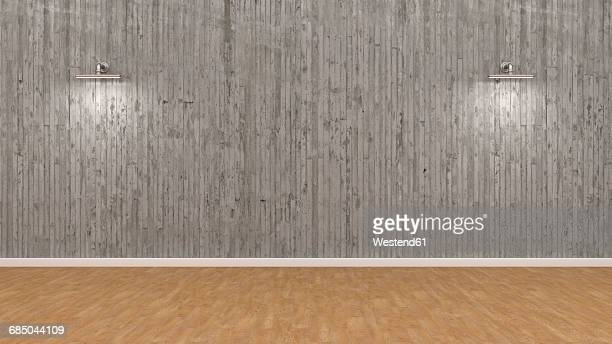 Empty room with illuminated concrete wall, 3d rendering