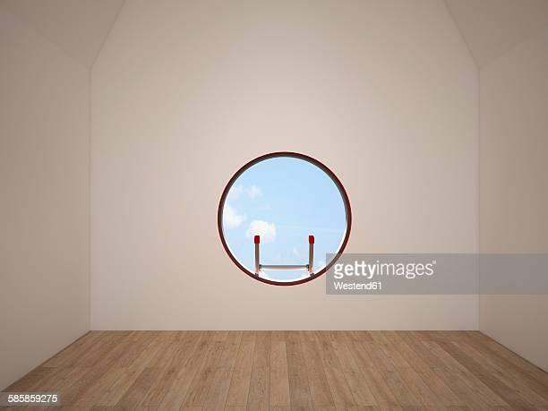 ilustraciones, imágenes clip art, dibujos animados e iconos de stock de empty room with oculus, 3d rendering - ventana