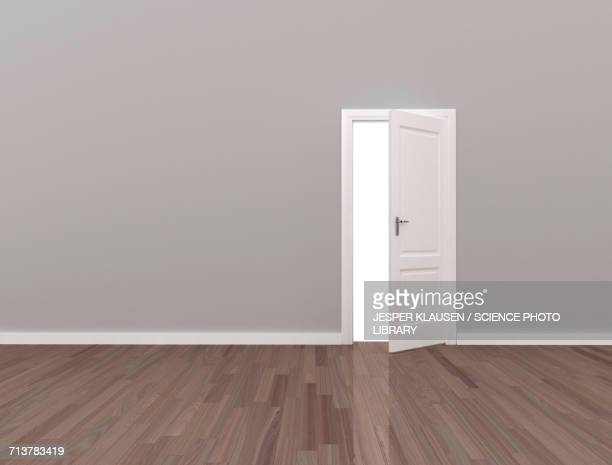 empty room with open door - open stock illustrations