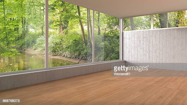 empty room with panorama window and wooden floor, 3d rendering - floorboard stock illustrations, clip art, cartoons, & icons