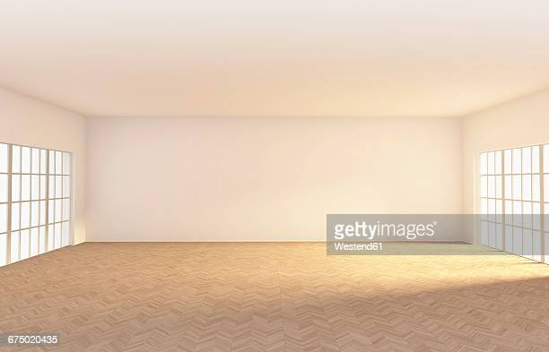 illustrazioni stock, clip art, cartoni animati e icone di tendenza di empty room with parquet, 3d rendering - copy space