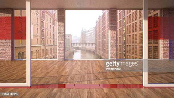 empty room with parquet and glass walls in a brick building, 3d rendering - loft apartment stock illustrations, clip art, cartoons, & icons