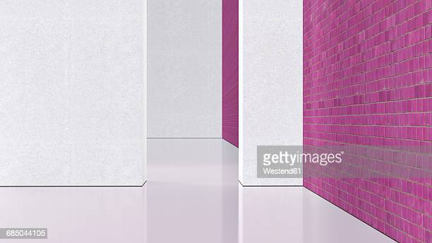 Empty room with pink brick wall, 3d rendering