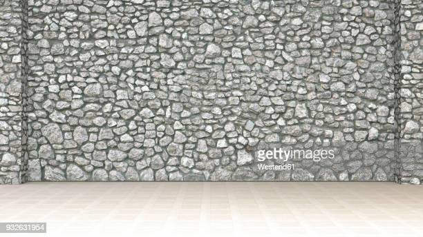 bildbanksillustrationer, clip art samt tecknat material och ikoner med empty room with stone wall and wooden floor, 3d rendering - stone wall