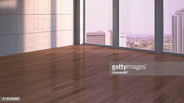 Empty room with walnut parquet, 3D Rendering