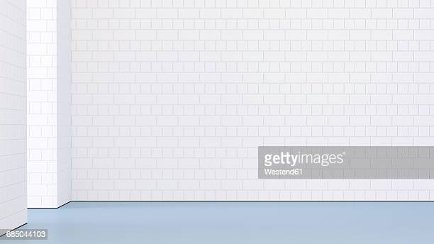 Empty room with white brick wall, 3d rendering