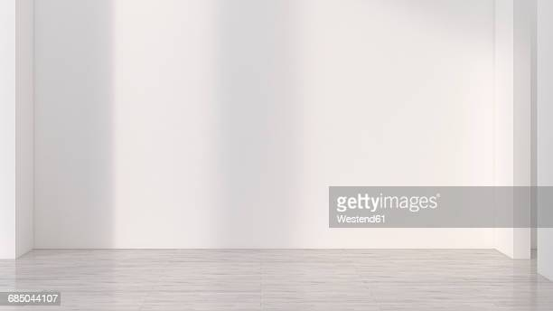 stockillustraties, clipart, cartoons en iconen met empty room with white wall, 3d rendering - zonder mensen