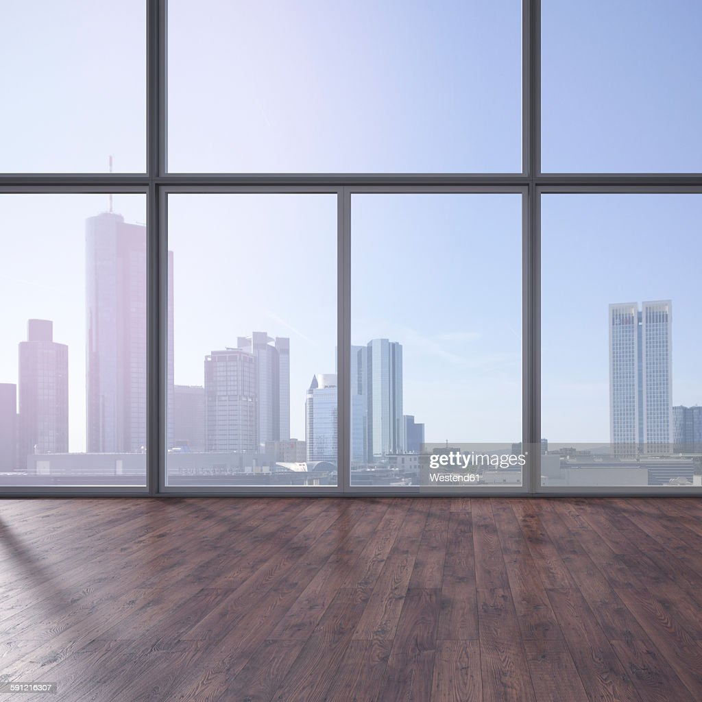 Empty Room: Empty Room With Wooden Floor And View At Skyline 3d