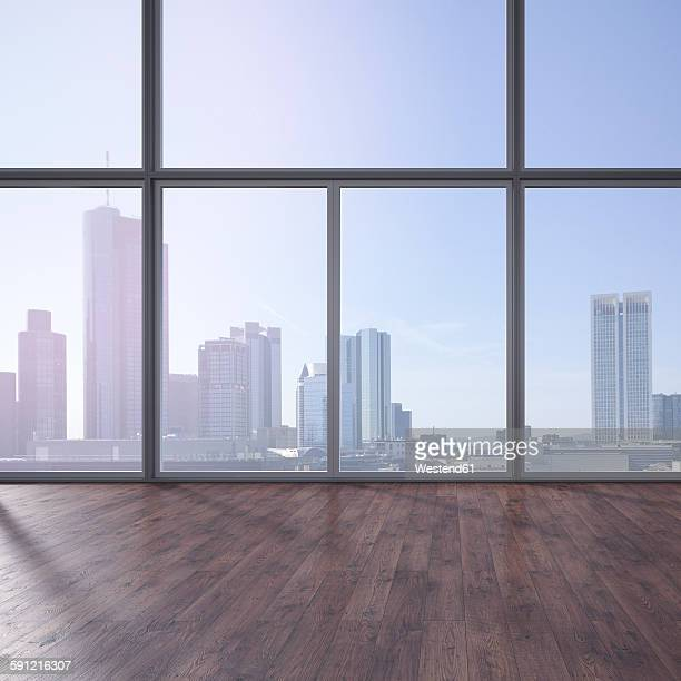 empty room with wooden floor and view at skyline, 3d rendering - skyscraper stock illustrations