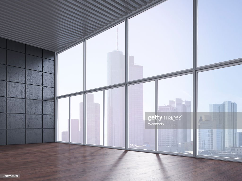 Empty room with wooden floor, concrete wall and view at skyline, 3D Rendering : Illustration
