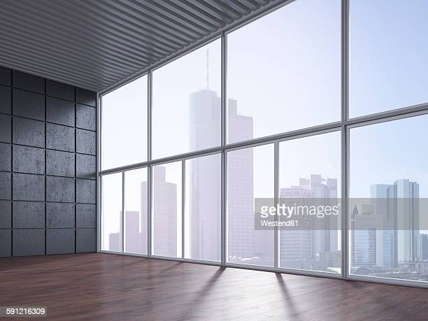 empty room with wooden floor, concrete wall and view at skyline, 3d rendering - concrete wall stock illustrations, clip art, cartoons, & icons