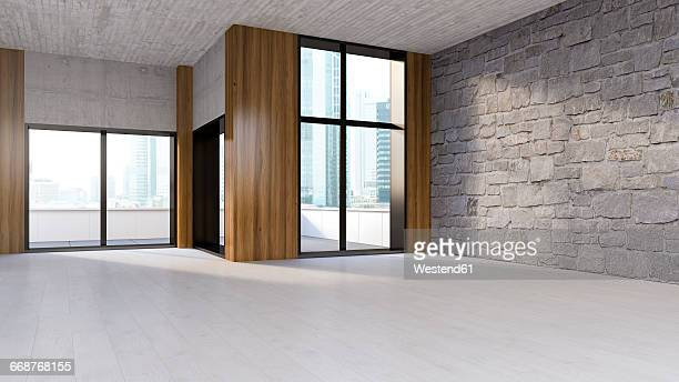 Empty room with wooden floor, natural stone and concrete wall, 3D Rendering