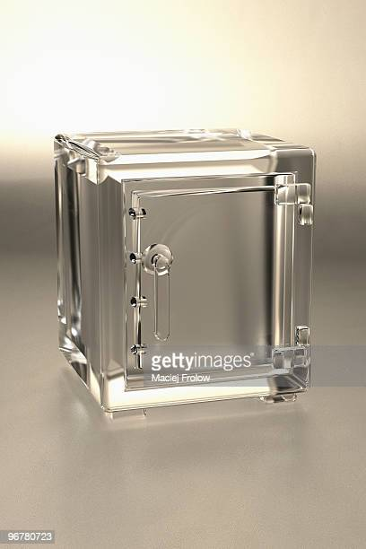 empty safe made of glass - safety stock illustrations