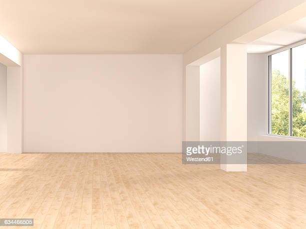 Empty spacious room with wooden floor, 3D Rendering