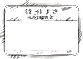 Empty sticker tag hello my name is watercolor drawing sketch