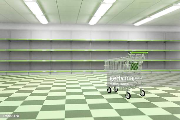 Empty supermarket and empty caddy