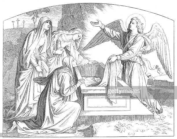 空の墓の後のイエス・キリストの復活 - メアリー マグダレーン点のイラスト素材/クリップアート素材/マンガ素材/アイコン素材