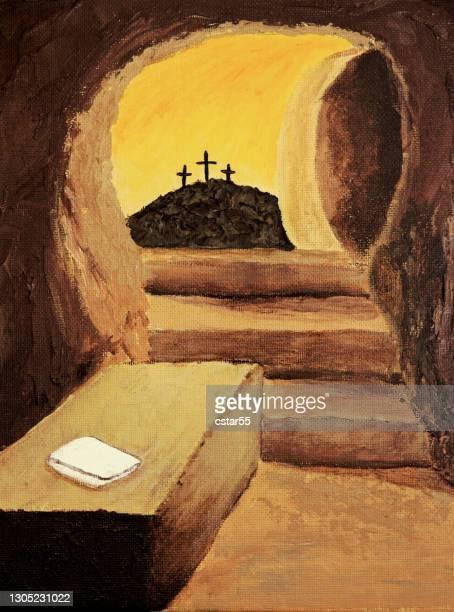 empty tomb of jesus with crosses and cloth - empty tomb jesus stock illustrations