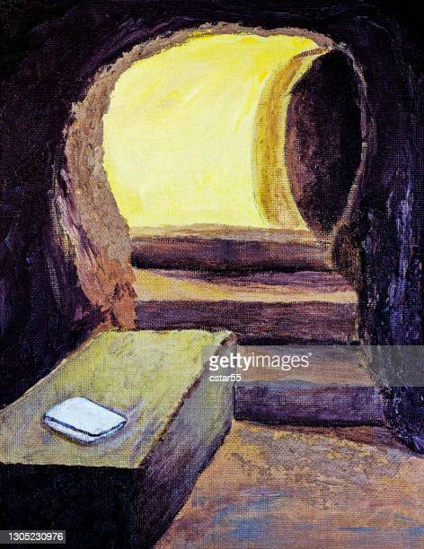 empty tomb of jesus with folded cloth painting - empty tomb jesus stock illustrations