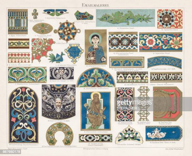 enamel painting chromolithograph 1895 - byzantine stock illustrations