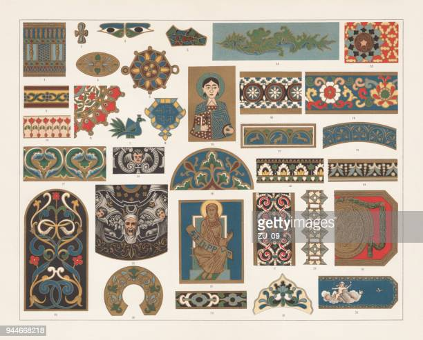 enamel painting, lithograph, published in 1897 - russian culture stock illustrations