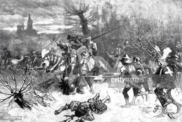 end of charles the bold at the battle of nancy, karl der kühne - lorraine stock illustrations, clip art, cartoons, & icons