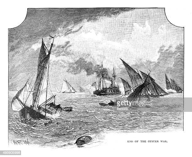 end of the oyster war - chesapeake bay stock illustrations, clip art, cartoons, & icons