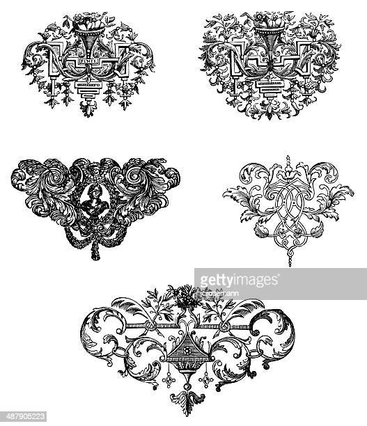 end-pieces in baroque style - 17th century stock illustrations, clip art, cartoons, & icons