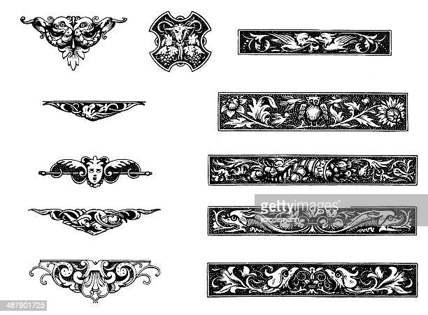 end-pieces in renaissance style - embellishment stock illustrations