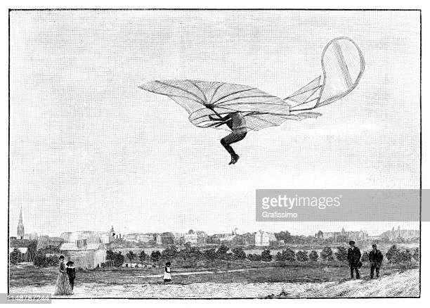 ingenieur otto lilienthal fliegt mit maschine 1892 deutschland - erfindung stock-grafiken, -clipart, -cartoons und -symbole