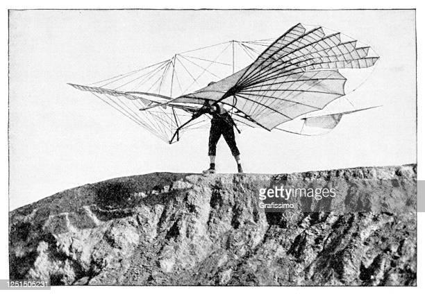 bildbanksillustrationer, clip art samt tecknat material och ikoner med ingenjör otto lilienthal med segelflygplansflygningsmaskin 1895 - arkivfilm
