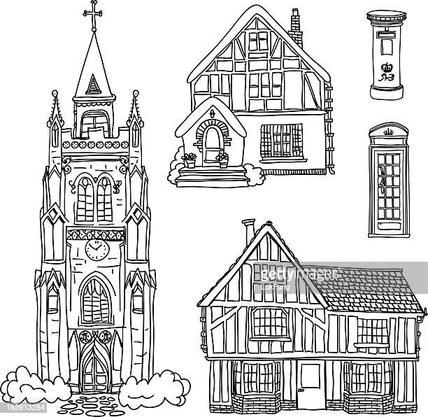 england house collection in black and white - bungalow stock illustrations, clip art, cartoons, & icons