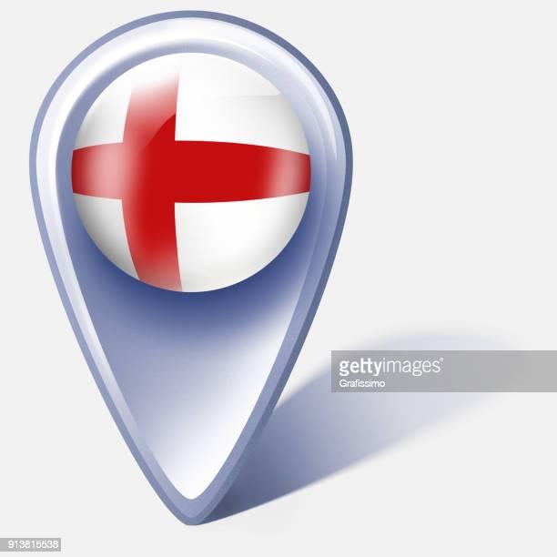 illustrations, cliparts, dessins animés et icônes de pointeur de carte bouton angleterre royaume uni avec le drapeau anglais isolé sur blanc - drapeau anglais