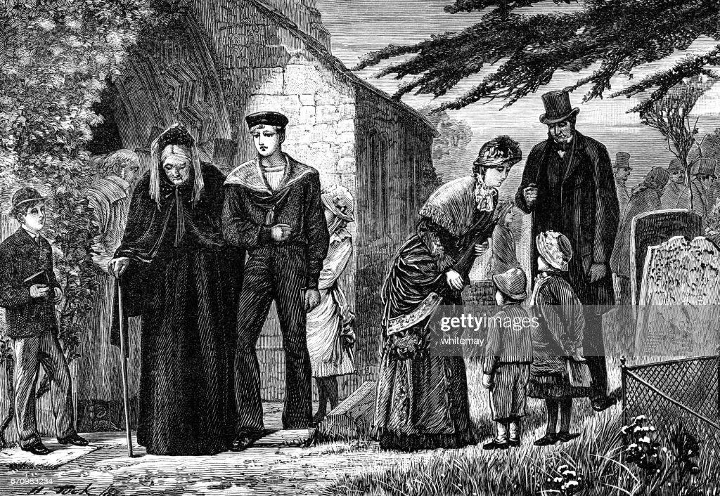English 19th century congregation leaving church : stock illustration