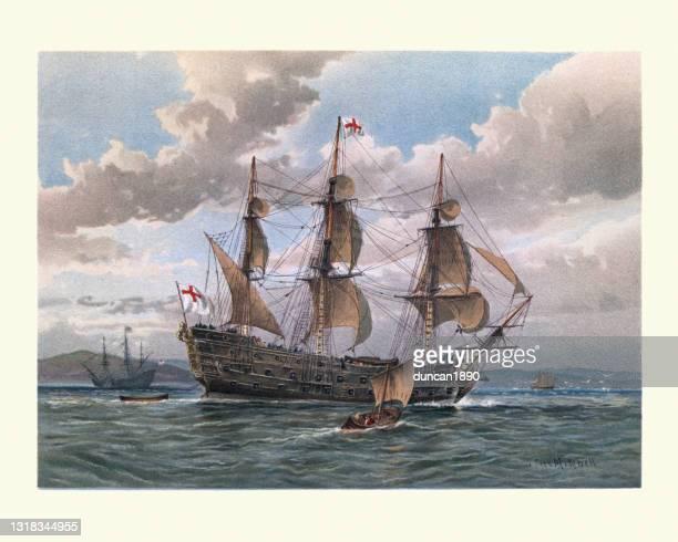 english battleship of the mid 17th century, warship royal navy - 1600s stock illustrations